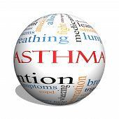Asthma 3D Sphere Word Cloud Concept