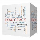 Democracy 3D Cube Word Cloud Concept