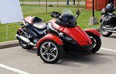 Red Three Wheel Motorcycle