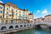Triple bridge, Ljubljana, Slovenia, Europe.
