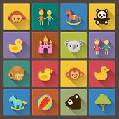 Set Of Sixteen Zoo And Animals Icons In Flat Design
