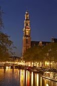 Amsterdam - Westerkerk (west Church) In The Evening