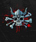 bloody skull in helmet with horns and bones. Rasterized illustration.