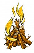 flame fire of campfire with firewood. Rasterized illustration.