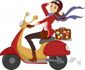 Illustration of a Girl Happily Driving a Scooter