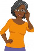 Illustration of a Black Elderly Woman Wearing a Pair of Eyeglasses