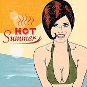 stock photo of brest  - Hot pop art girl on a beach vector illustration - JPG