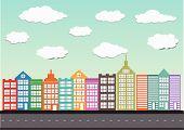 Building Icons Set  Town city building design