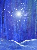 Blue Night Forest With Snow Light And Stars Original Art