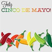picture of chillies  - Cinco De Mayo Chilli Card In Vector Format - JPG