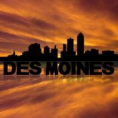 Des Moines skyline reflected with text and sunset illustration