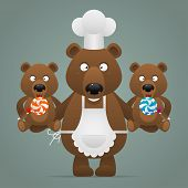 Concept chef bear with cubs