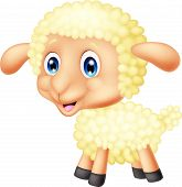 image of counting sheep  - Vector illustration of Baby sheep cartoon isolated on white background - JPG