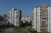 KIEV, UKRAINE -APR 18, 2014: Typical modern residential area. A recently built block of apartments .