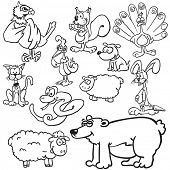 animals black and white cartoon illustration set
