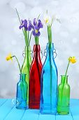 Beautiful irises and daffodils in bottles, on light background