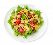 picture of caesar salad  - Classic Chicken Caesar Salad isolated on white background - JPG