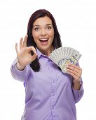 Excited Mixed Race Woman Holding the Newly Designed United States One Hundred Dollar Bills Isolated