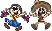 Cartoon Mexican skeletons. Vector clip art illustration with simple gradients. Each on a separate layer.