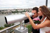 Young Wedding Couple With Tourist Binoculars