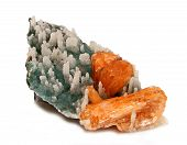 Orange Stilbite Crystals With Stalactites Covered With Quartz Crystals
