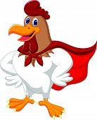 Cartoon super rooster posing