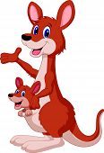 Cartoon red kangaroo carrying a cute Joey