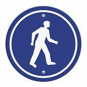 Pedestrian Walking Lane Walkway Footpath Road Sign On Pole