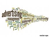 Vector eps concept or conceptual 3D abstract business advertising word cloud or wordcloud isolated o