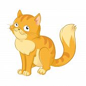 stock photo of cat-tail  - Vector image of orange funny cartoon cat - JPG