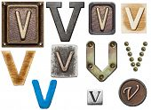 Alphabet made of wood, metal, plasticine. Letter V