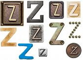 Alphabet made of wood, metal, plasticine. Letter Z