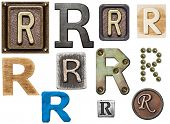 Alphabet made of wood, metal, plasticine. Letter R