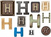 Alphabet made of wood, metal, plasticine. Letter H