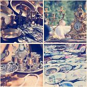 Vintage Crockery At A Flea Market