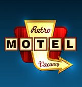 stock photo of motel  - Retro motel road sign with an arrow - JPG