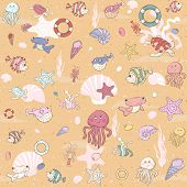 Seamless sea pattern with various inhabitants