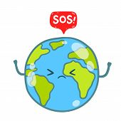 Cartoon Earth globe with SOS message