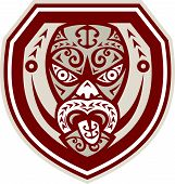 Maori Mask Tongue Out Shield Retro