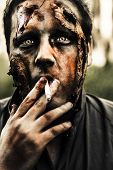 Evil Dead Zombie Smoking Cigarette Outside