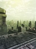 stock photo of fiction  - Futuristic science fiction city skyline in a green haze or smog - JPG