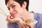 Candid Close Portrait Cute Brunette Woman Raw Food Sushi Lunch