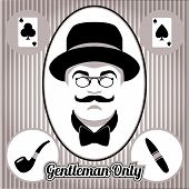 Retro gentleman face and accessories, isolated