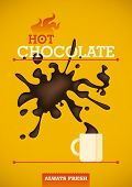 Hot chocolate poster design. Vector illustration.