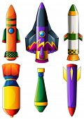 Illustration of a group of colorful rockets on a white background