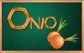 Illustration of a blackboard with an onion