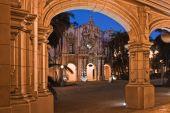 Balboa Park buildings at night