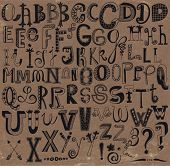 image of letter x  - Whimsical Hand Drawn Alphabet Letters and Keystrokes - JPG