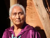 stock photo of native american ethnicity  - Beautiful Elderly Navajo Woman Outside in Bright Sun - JPG