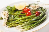 asparagus, onions, peas, tomatoes-marinated grilled vegetables